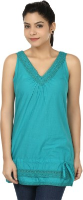 Eves Pret A Porter Casual Sleeveless Solid Women's Blue Top
