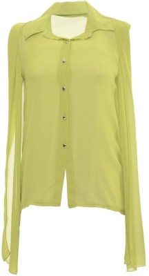 Desi Panache Casual, Party Full Sleeve Solid Women's Green Top