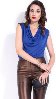 D Muse by DressBerry Casual Sleeveless Solid Women's Blue Top