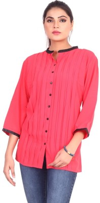 Pink Nine Casual 3/4 Sleeve Solid, Embellished Women's Red Top