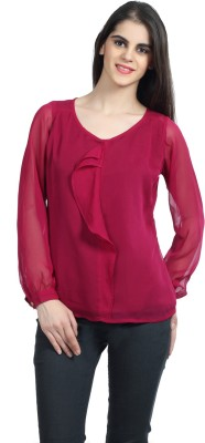 Mineral Casual Full Sleeve Solid Women's Maroon Top