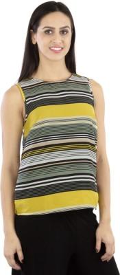 GUDS Casual Sleeveless Striped Women's Yellow Top