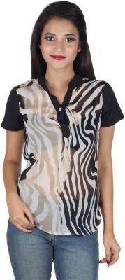 IndiFrench Moda Casual Short Sleeve Self Design Women's Black Top