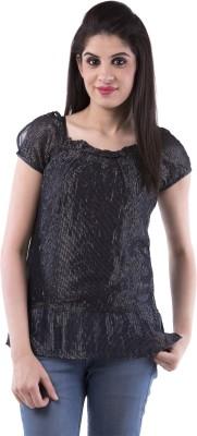 Aarr Casual Short Sleeve Self Design Women's Black Top