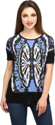 Star Style Casual Butterfly Sleeve Printed Women's Black Top