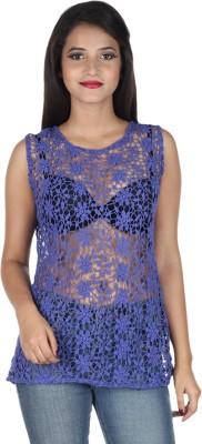 IndiFrench Moda Casual Sleeveless Self Design Women's Blue Top
