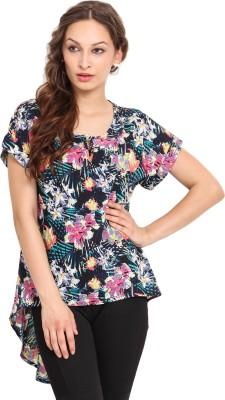 Instacrush Casual Short Sleeve Floral Print Women,s Multicolor Top