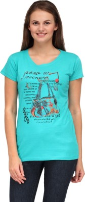 A A Store Casual Short Sleeve Solid, Printed Women's Green Top