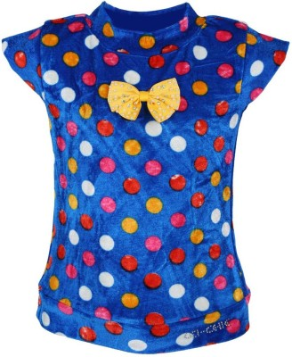 LEI CHIE Casual Short Sleeve Polka Print Girl's Blue Top