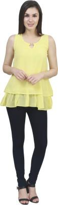 kellan Casual Sleeveless Solid Women's Yellow Top