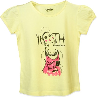 Minnow Casual Short Sleeve Printed Girl's Yellow Top