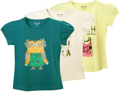 Minnow Casual Short Sleeve Printed Girl's Multicolor Top