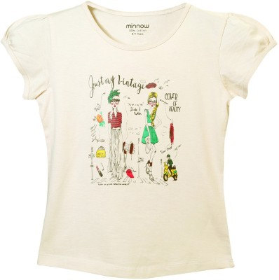 Minnow Casual Short Sleeve Printed Girl's Brown Top