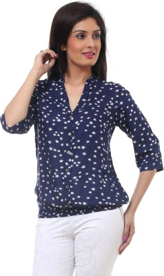Lynda Casual 3/4 Sleeve Printed Women's Blue, White Top