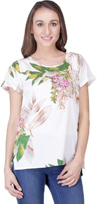 Shiks Vogue Casual Short Sleeve Floral Print Women's White Top
