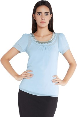 Park Avenue Formal Short Sleeve Solid Women's Blue Top