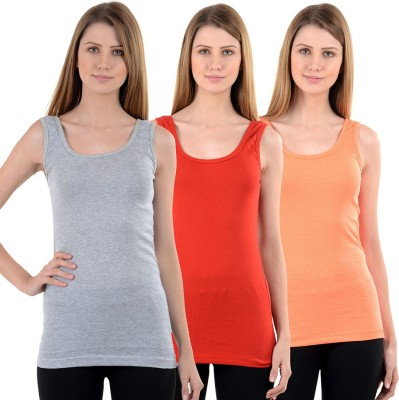 NumBrave Casual Sleeveless Solid Women's Grey, Red, Orange Top