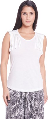 Globus Casual Sleeveless Solid Women's White Top
