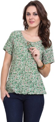 DeDe'S Casual Short Sleeve Floral Print Women's White, Green Top