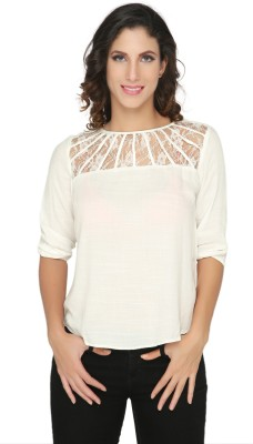 Philigree Casual 3/4 Sleeve Solid Women,s White Top