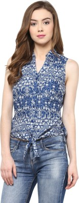 Hapuka Casual Sleeveless Printed Women's Blue Top