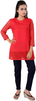 Go4it Casual, Party 3/4 Sleeve Striped Women,s Red Top