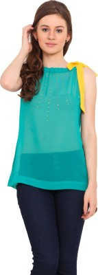 La Arista Casual Sleeveless Solid Women's Green Top