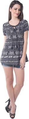 Florrie Fusion Casual Short Sleeve Printed Women's Black Top