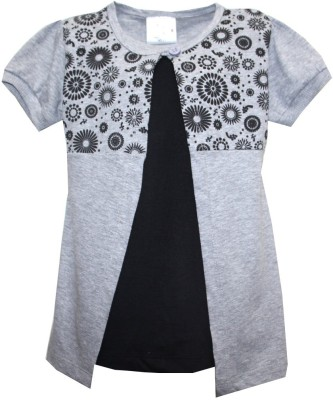 Kidsmasthi Casual Puff Sleeve Solid Girl's Grey Top