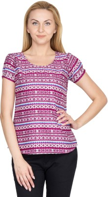 Shopaholic Casual Short Sleeve Printed Women's Pink, White Top