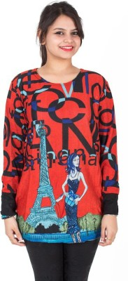 SXY! Casual, Party, Lounge Wear, Sports, Beach Wear Full Sleeve Graphic Print Women's Red Top