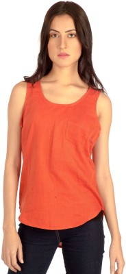MIST ISLAND Casual Sleeveless Solid Women's Orange Top