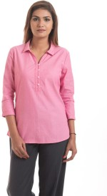Hashtag Girls Casual 3/4th Sleeve Solid Women's Pink Top