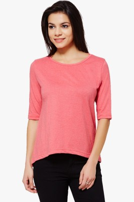 PNY Casual Short Sleeve Solid Women,s Red Top