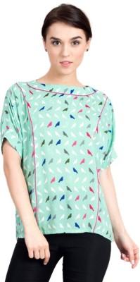 Vivante by VSA Casual Short Sleeve Printed Women's Light Green Top