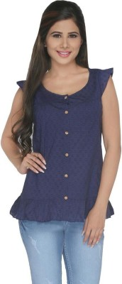 FASHIONWARDROBE Casual Cap sleeve Self Design Women,s Dark Blue Top