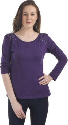 Ausehen Casual Full Sleeve Solid Women's Purple Top