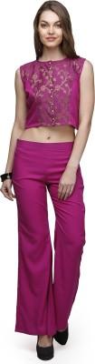 Abhishti Festive Sleeveless Self Design Women's Purple Top