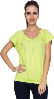 Kaxiaa Casual Short Sleeve Solid Women's Green Top