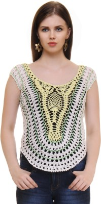 The Crochet Company Casual Sleeveless Self Design Women's White Top