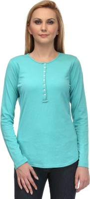 Colornext Casual Full Sleeve Solid Women,s Green Top