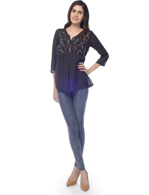 Desi Belle Casual 3/4 Sleeve Embroidered Women's Black Top