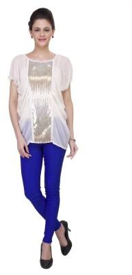 IshinDesignerStudio Casual Cape Sleeve Solid Women's White Top