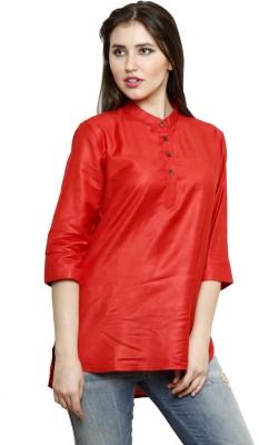 Dhrohar Casual 3/4 Sleeve Woven Women,s Red Top