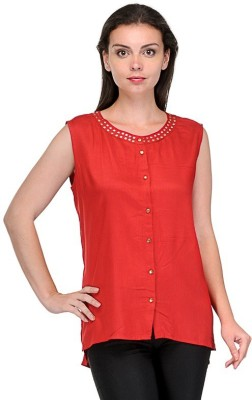 Firemark Casual Sleeveless Solid Women's Red Top