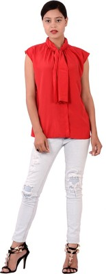 Fashnopolism Formal Sleeveless Woven Womens Red Top