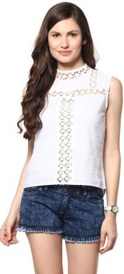 Abiti Bella Casual Sleeveless Solid Women's White Top