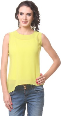 KIM KARTER Casual Sleeveless Solid Women's Yellow Top