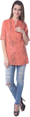 Florrie Fusion Casual Roll-up Sleeve Printed Women's Orange Top