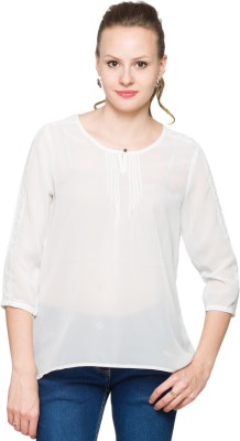 Max Casual 3/4 Sleeve Solid Women's White Top